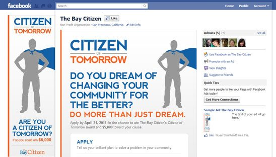 The Bay Citizen Facebook and Wordpress Design
