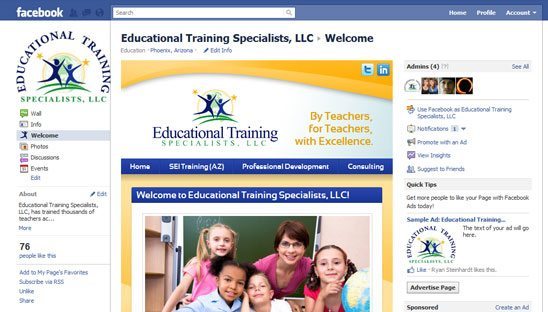 Educational Training Specialists Facebook Design