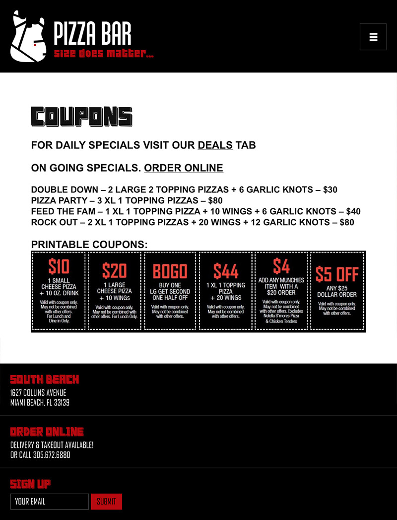 Tablet Responsive - Coupons