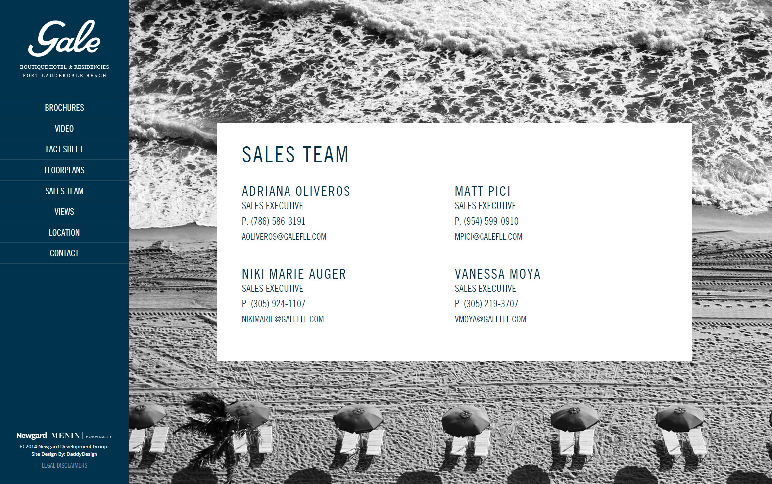 Sales Team Website Page Layout