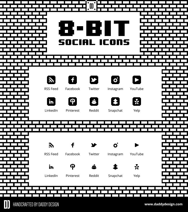 8-Bit Vector Social Icon Pack